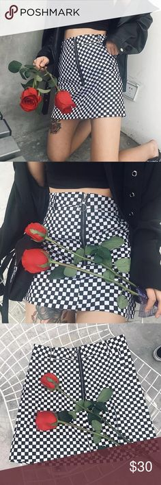✨UNIF Apex Skirt Look-a-Like✨ Please note this is not real Unif! Black and white checkered skirt resembles Unif apex skirt style! This bodycon skirt is edgy, adorable, and even comes with belt loops! Model is in size small for reference! PLEASE comment if you would like to pre-order because these are not available yet! DO NOT BUY THIS LISTING  UNIF Skirts Mini