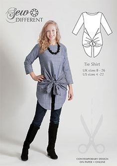 Sewing pattern for women - Tie Shirt . Easy to wear and easy to make. Available on paper or to download and comes in UK size 8 - 26. Looks great in a simple shirting cotton or for a completely different look, why not try a lace or chiffon?