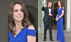 The Duchess wore a royal blue Nansen gown from the designer's 2016 collection for the dinner which will mark the British charity's 40th anniversary. Kate has been a patron of SportsAid since 2013.