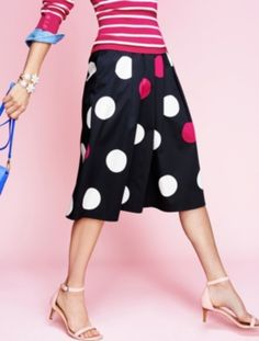 """Dashing Dots Skirt - Talbots Pleats and polka dots are in full swing this season. Now in a midi-length with modern flair, this classic motif is feminine and fun. Make a statement by pairing bold dots with thin stripes or style this classic skirt with bright solids for something simpler. 4 Waistband with side-zip     On-seam pockets     Fully lined     Inseam: Misses 27""""; Petite 24 1/2""""; Woman 28""""      Shell: 98% cotton/2% spandex     Lining: 100% polyester     Machine wash cold     Imported"""