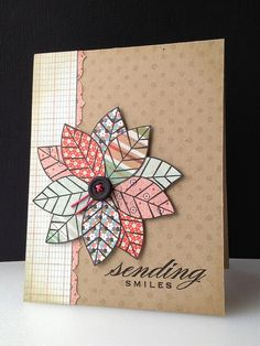 handmade card: quickcard82 - Linda's Scramble ... paper pieced flower on a kraft background ... leaves stamped on pattered paper, fussy cut and arranged as the petals of a quilt-like flower ... luv the warm country look ... Hero Arts ...