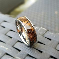 Tungsten ring with Tyrannosaurus rex inlay meteorite Tungsten Wedding Bands, Wedding Ring Bands, Meteorite Ring, Tyrannosaurus Rex, How To Make Homemade, Copper Color, Black Opal, Opals, T Rex
