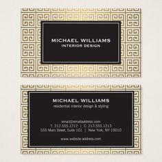 Teste padrão chave grego no ouro do falso/cartão cartão de visitas