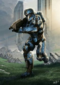 Another commission for mandalorianknight.c… who wanted his Halo 4 Character on a poster styled piece. Halo Spartan Armor, Halo Armor, Robot Concept Art, Armor Concept, Odst Halo, John 117, Halo Cosplay, Halo Game, Halo 5