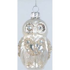 Jeweled Owl Christmas Ornament, Glass, Glittered
