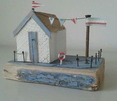 Handmade driftwood coastal beach hut unique ornament