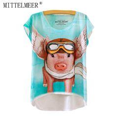 c1e63f4d1 MITTELMEER New Polyester T-Shirt Women Short Sleeve t-shirts o-neck Causal  loose Flying Pig T Shirt Summer tops for women