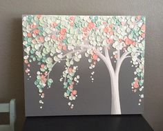 Mint Green and Peach Coral Art Textured Tree Nursery Art Mint Green, Coral and Gray Textured Nursery Art Original Acrylic Painting on Canvas Size: select at checkout Depth: Arte Coral, Coral Art, Diy Canvas, Acrylic Painting Canvas, Button Art On Canvas, Painted Canvas, Canvas Ideas, Acrylic Paintings, Canvas Tent