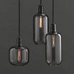 Amp Lamp Small - Smoke Black - glass pendant light - Normann Copenhagen