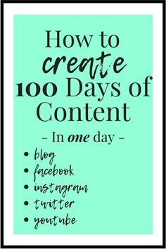 How to create 100 days of content in one day. Inbound Marketing, Content Marketing Strategy, Online Marketing, Affiliate Marketing, Marketing Tools, Marketing Software, Marketing Ideas, Media Marketing, Business Marketing