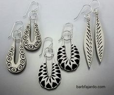 Earrings | Barb Fajardo.  Polymer clay with sterling silver ear hooks