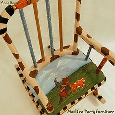 """""""Gone Bonanza"""" Hand Painted Rocking Chairs (madteapartyfurniture) Tags: blue horse brown children gold cow cowboy stripes country handpainted rockingchair dots whimsical lasso animalprint"""