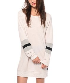 Old school styling is stripped down to its essence and fused with 90's hip hop and minimalism inspiration in this sweatshirt style dress for a fashion-forward yet comfortable look.