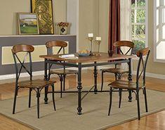 Baxton Studio 5 Piece Broxburn Wood and Metal Dining Set, Light Brown