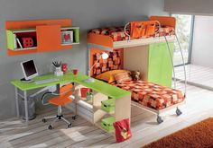 Funny Bunk Bed with Wall Storage and Study Table in Kids bedroom Designs Bright Colors Are Fun For a Childs Bedroom