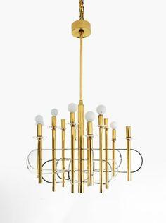 Gaetano Sciolari; Brass, Chromed Metal and Lucite Ceiling Light, c1970.