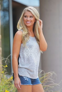 Coming Attraction Tank - Heather Grey from Closet Candy Boutique