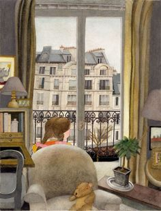 Cute illustration of a child's view of Paris by children's book illustrator, Etienne Delessert.