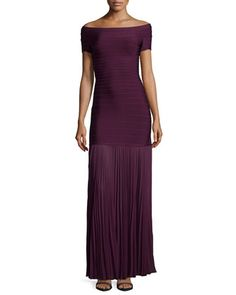 Off-the-Shoulder Pleated-Hem Gown, Bordeaux by Herve Leger at Bergdorf Goodman.