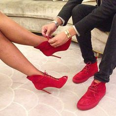 Not sure my husband would wear matching red shoes but I am in love with her red ones.