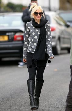 polka dots, black leggings and black boots