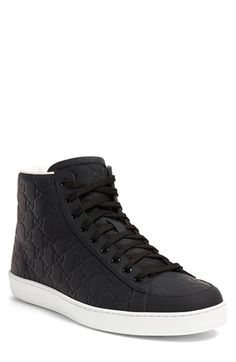 Gucci 'Brooklyn' High-Top Sneakers in black rubberized leather $550, sold out.