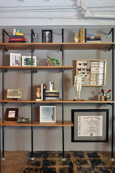 Industrial bookshelves to match our kitchen island (diy)