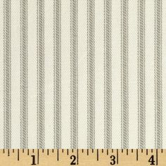 Vertical Ticking Stripe Ivory/Taupe from @fabricdotcom  <p>Screen printed on cotton duck; this fabric is medium weight (approximately 6.1 oz. per square yard) and perfect for light upholstery, window treatments, toss pillows, duvet covers, also tote bags and jackets. *Prewash to allow for shrinkage. Colors include ivory and taupey grey.