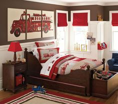 boys room decor PBK Fire trucks - Ideas for decorating boys room ....unfortunately, Pottery Barn Kids no longer carries this set.  I love the chair rail/wainscoating