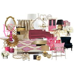 Red, Gold and Hot Pink Living Room by chloeg01 on Polyvore featuring interior, interiors, interior design, home, home decor, interior decorating, Ballard Designs, Bungalow 5, Jonathan Charles Fine Furniture and Regina-Andrew Design
