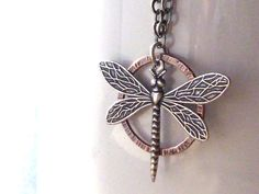 Silver Dragonfly Necklace Layered Over Textured by ATwistOfWhimsy, $36.00