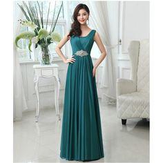 A-Line Pleated Floor Length Formal Evening Dress With Crystal Waist