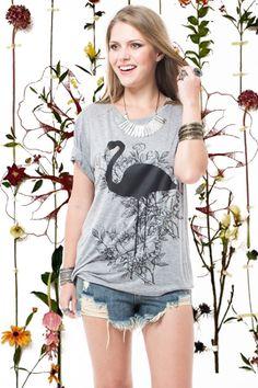 T- Shirt Flamingo R$ 142,50 - Terra da Garoa Verão 16 - Moda Sustentável feita com amor
