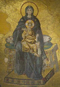 Byzantine Mother of God Enthroned, 867 Hagia Sophia, Istanbul, Turkiye Mosaic Madonna, Byzantine Icons, Byzantine Art, Byzantine Mosaics, Hagia Sophia, Sainte Sophie, Art Through The Ages, Mary And Jesus, Renaissance Paintings