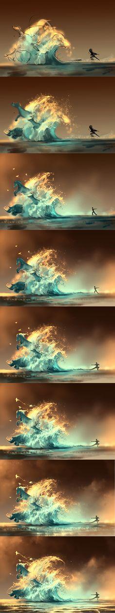WIP of Mana Tide by AquaSixio.deviantart.com on @deviantART #Painting #Process #wip