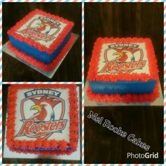 Sydney Roosters birthday cake with buttercream and edible image Roosters, Sydney, Birthday Cake, Cakes, Image, Cake Makers, Birthday Cakes, Kuchen, Rooster
