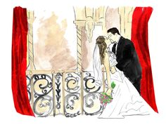 Wedding drawing from photo full color with background 2 by sbeever