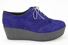 MILLICENT Faux Suede Brogue Creepers NAVY SUEDE