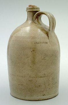"Jacob Doris Craven (1827-1895) - Jug. Salt Glazed Stoneware. Stamped ""J.D. CRAVEN"". Randolph and Moore Counties, North Carolina. Circa 1850-1870. 12"" x 8""."