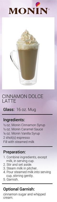 Create this delicious Cinnamon French Toast Latte in minutes using Monin Gourmet Syrup. Add a splash of Monin to coffee, cocktails, teas, lemonades and more. Cinnamon Syrup, Honey And Cinnamon, Coffee Drink Recipes, Coffee Drinks, Cinnamon Dolce Latte, Coffee Shop Business, Cinnamon French Toast, Espresso Drinks, Creative Coffee