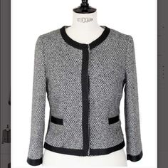 Zara Chanel style black and white tweed jacket Very elegant Zara jacket in Chanel style. Style it with a pair of skinny black jeans for an everyday look or with a little black dress and high heels for a dressed up cocktail or wedding party. Black and white tweed. 20% wool, 80% polyesther.  Black gros grain ribbon trimming. Two pockets on the front.  Round collar. Zara Jackets & Coats Blazers
