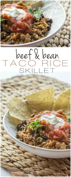 Beef and Bean Taco Rice Skillet - Super easy and customizable dinner idea!