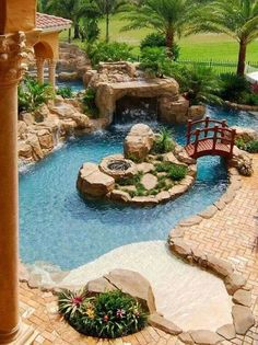 You can now have the pool that you dream about without the bother of day-to-day upkeep! It is all kind lazy river pool you'll only find in here. Lazy River Pool, Backyard Lazy River, Backyard Paradise, Modern Backyard, Walk In Pool, Ponds Backyard, Backyard Landscaping, Landscaping Ideas, Garden Ponds