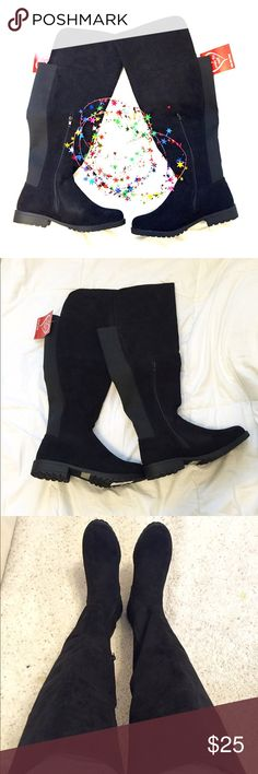 NWT Thigh High Black Boots NWT Thigh High Faux Suede Black Boots    Size: 8.5  they are wide at the opening (wide calf) Comes with original box and all tags and stickers on the boots. Rouge Shoes Over the Knee Boots
