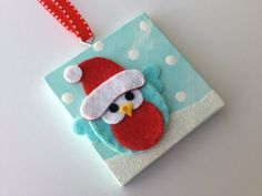 NEW NEW NEW!  3x3 mini canvas Christmas ornament! Hand Painted with an sweet…