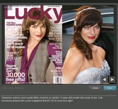 Milla Jovovich for Lucky Magazine, with and without Photoshop #retouch #beauty #thinspiration #age #real #fake #cover