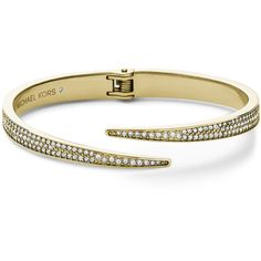Michael Kors Pave Hinge Open Cuff (270 BRL) ❤ liked on Polyvore featuring jewelry, bracelets, gold, steel bangles, pave bangle, michael kors jewelry, cuff bangle and golden bangles