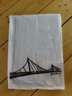 An exclusive No. 163 Designs product! These 100% cotton flour sack towels are hand printed with our Greenville, South Carolina Liberty Bridge design.  www.163designs.com