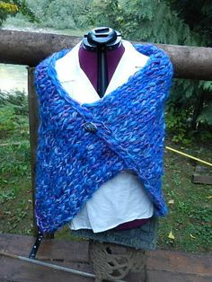 Hand Knitted, natural wool, BFL, alpaca, handspun, art yarn spun,beautiful blues and purples, shawl, wrap, caplet, by Micheleshats on Etsy