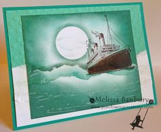 "High Seas by melissabanbury - Cards and Paper Crafts at Splitcoaststampers  Cardstock: Whisper White, Bermuda Bay, Coastal Cabana Ink: Pool Party, Bermuda Bay, Lost Lagoon, Chocolate Chip Accessories: Decorative Dots Embossing Folder, sponges, post its (for masking), 1 1/4"" Circle Punch, White Gel Pen, Multi-Purpose liquid glue"
